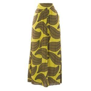 Boden Tropical Yellow Maxi Skirt Size 4R